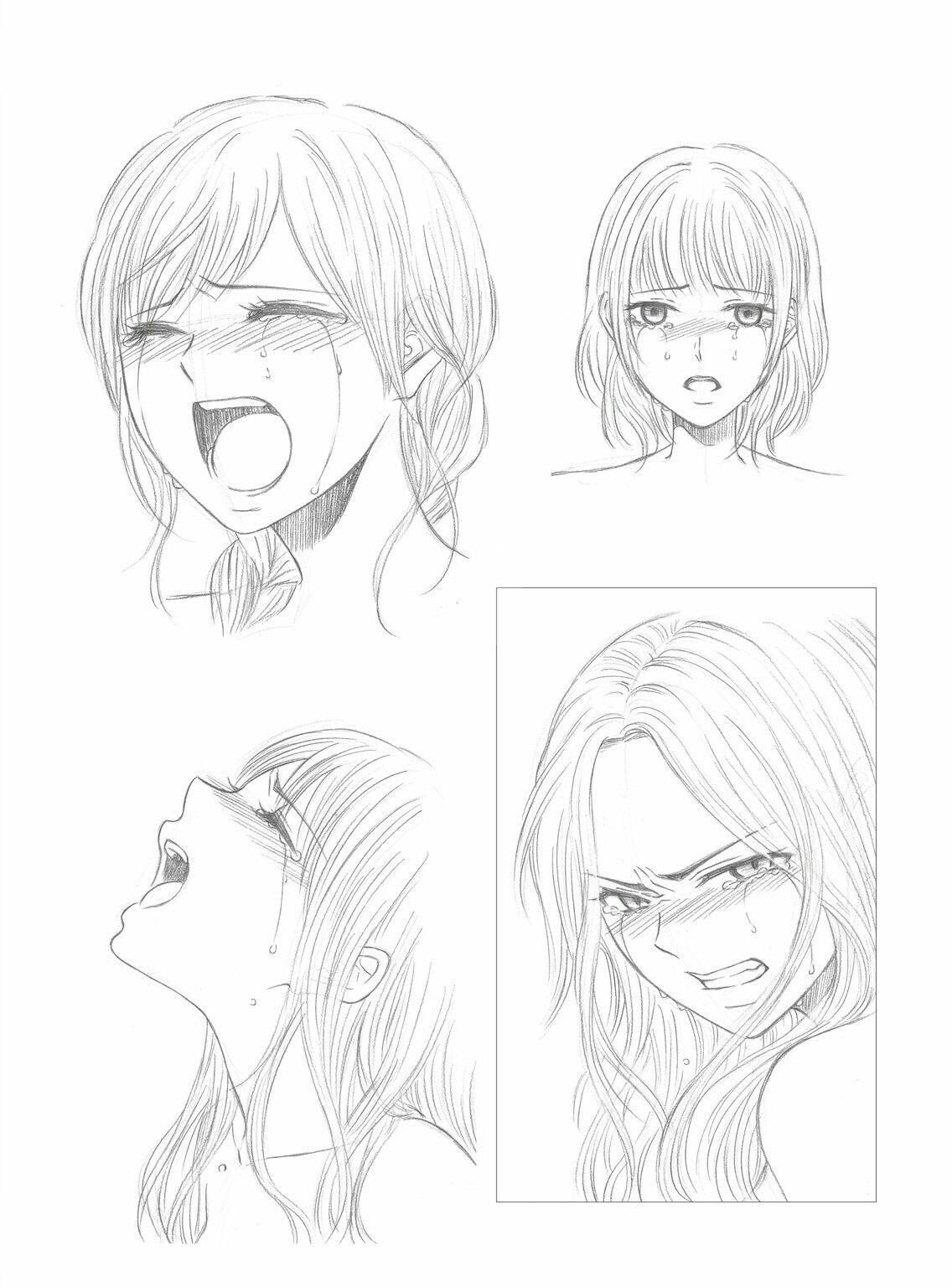 Crying girl drawing reference