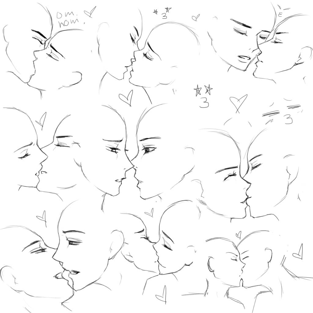 Kissing drawing reference