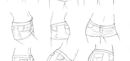 Short shorts drawing reference