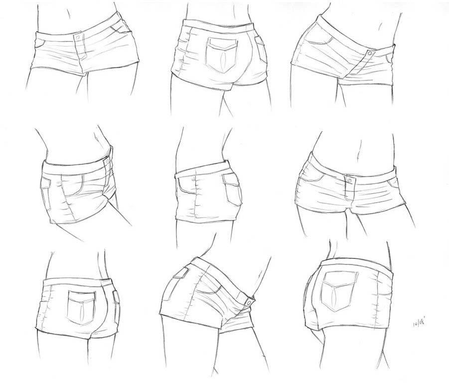 Short shorts drawing reference