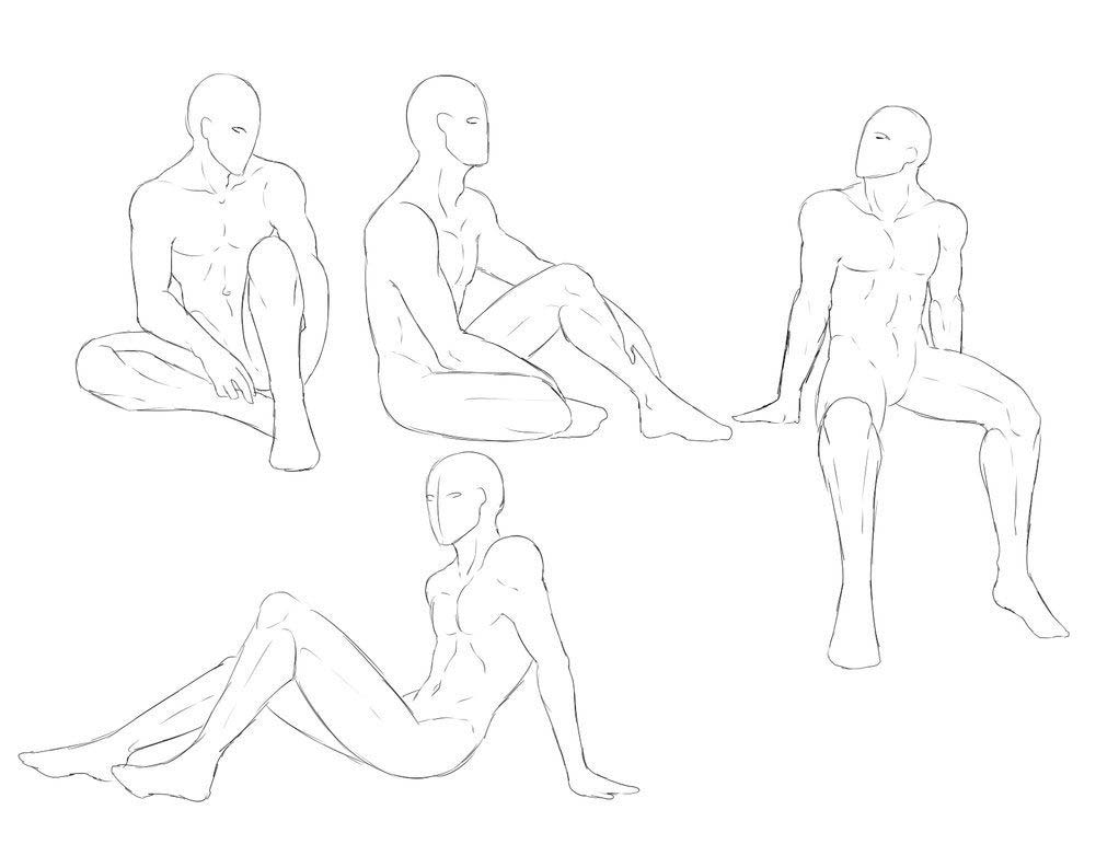 Sitting on the ground drawing reference