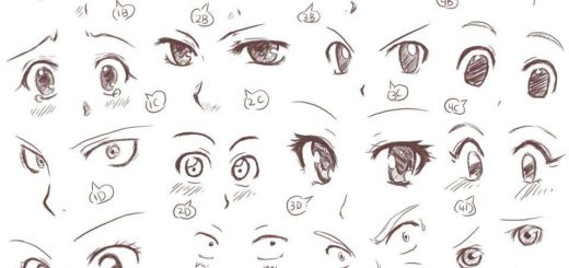 Anime and manga eyes drawing reference