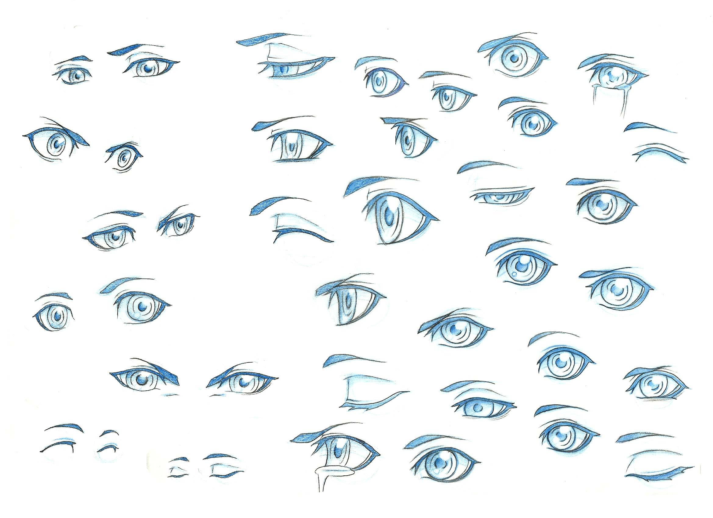 Anime and manga eyes drawing reference