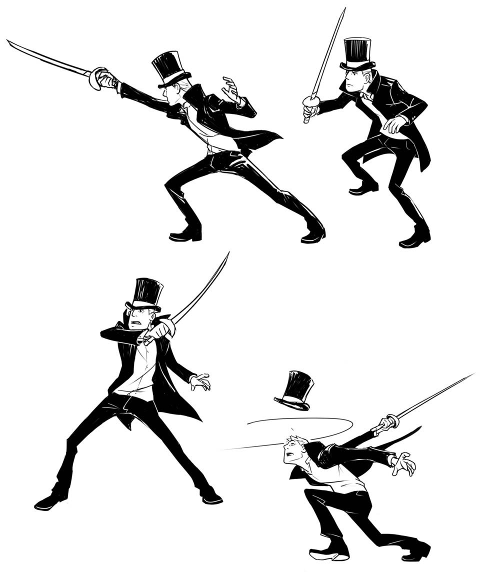 It is an image of Slobbery Sword Poses Drawing
