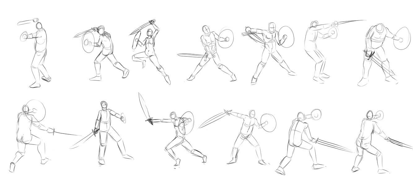 sword pose drawing reference