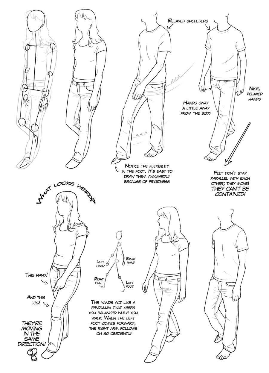 walking drawing reference