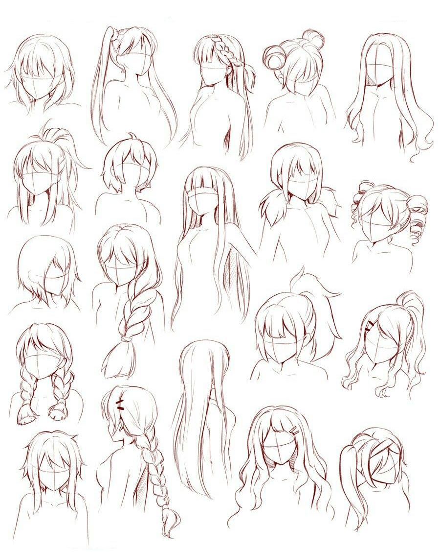 Anime hair drawing reference