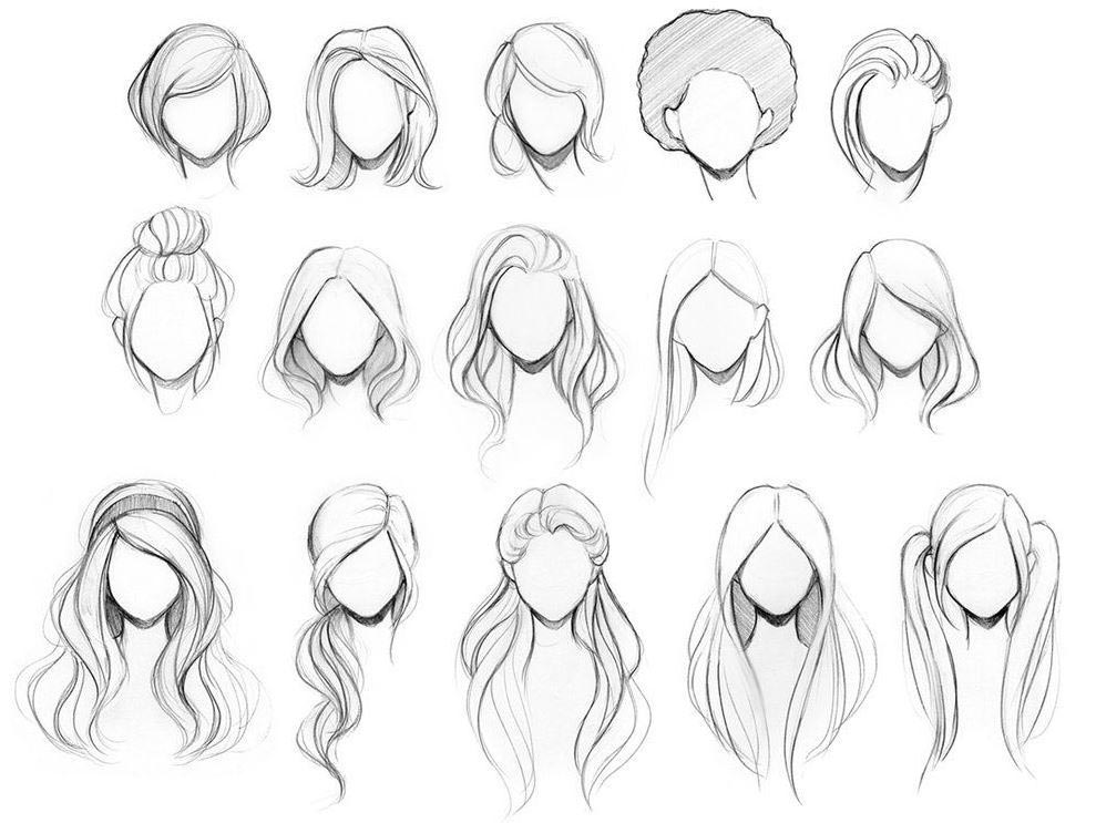 Girl Hairstyles drawing reference