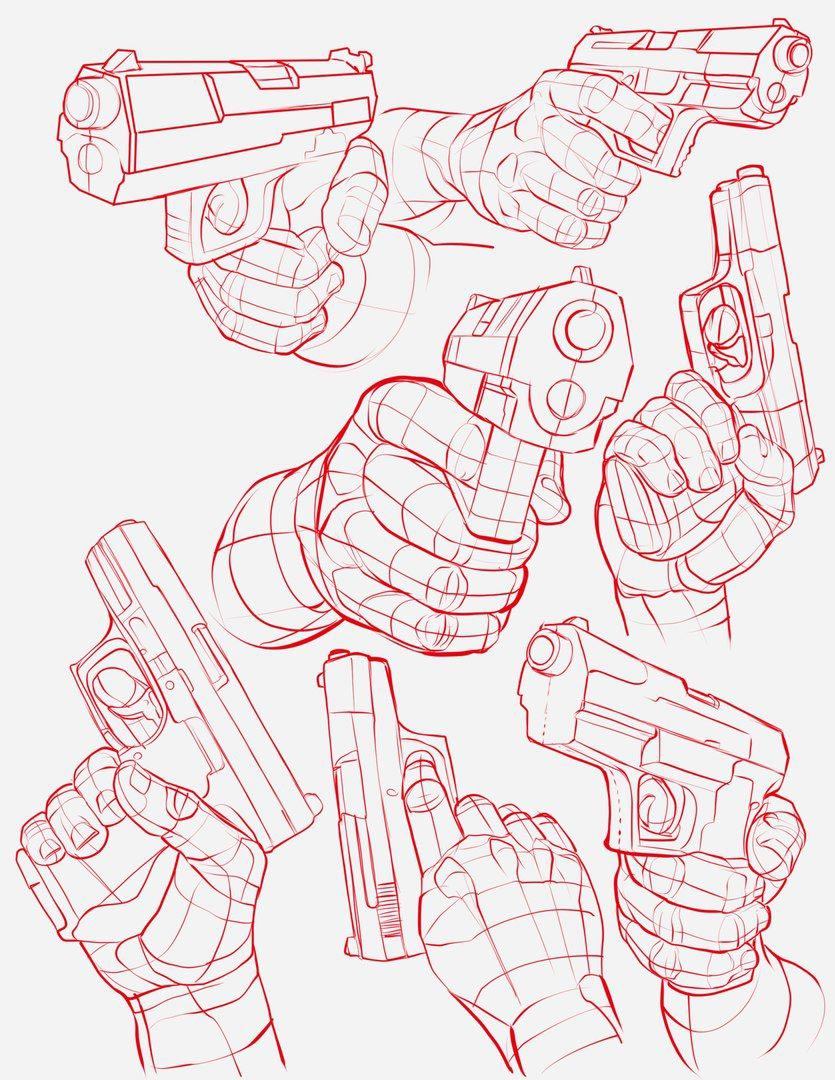 Hand Holding Gun drawing reference