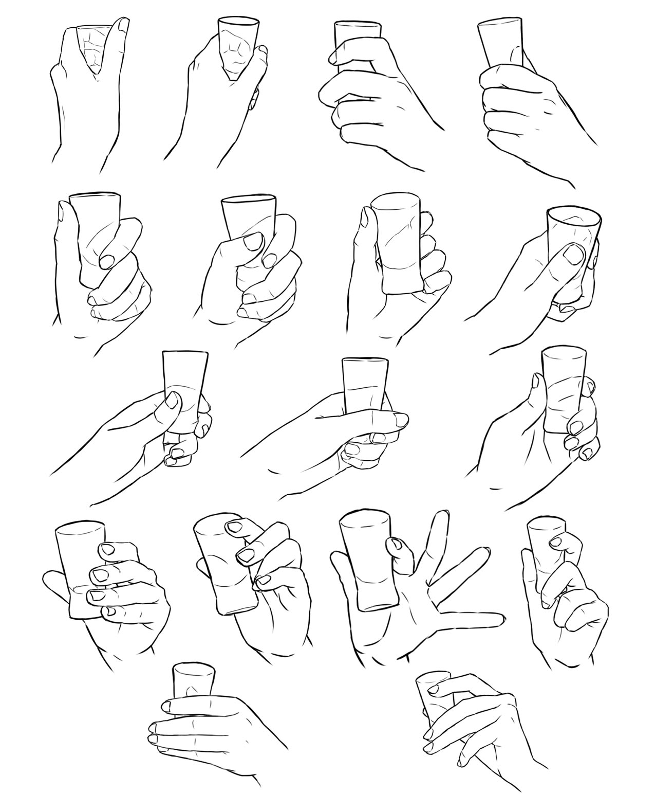 Hand holding glass drawing reference