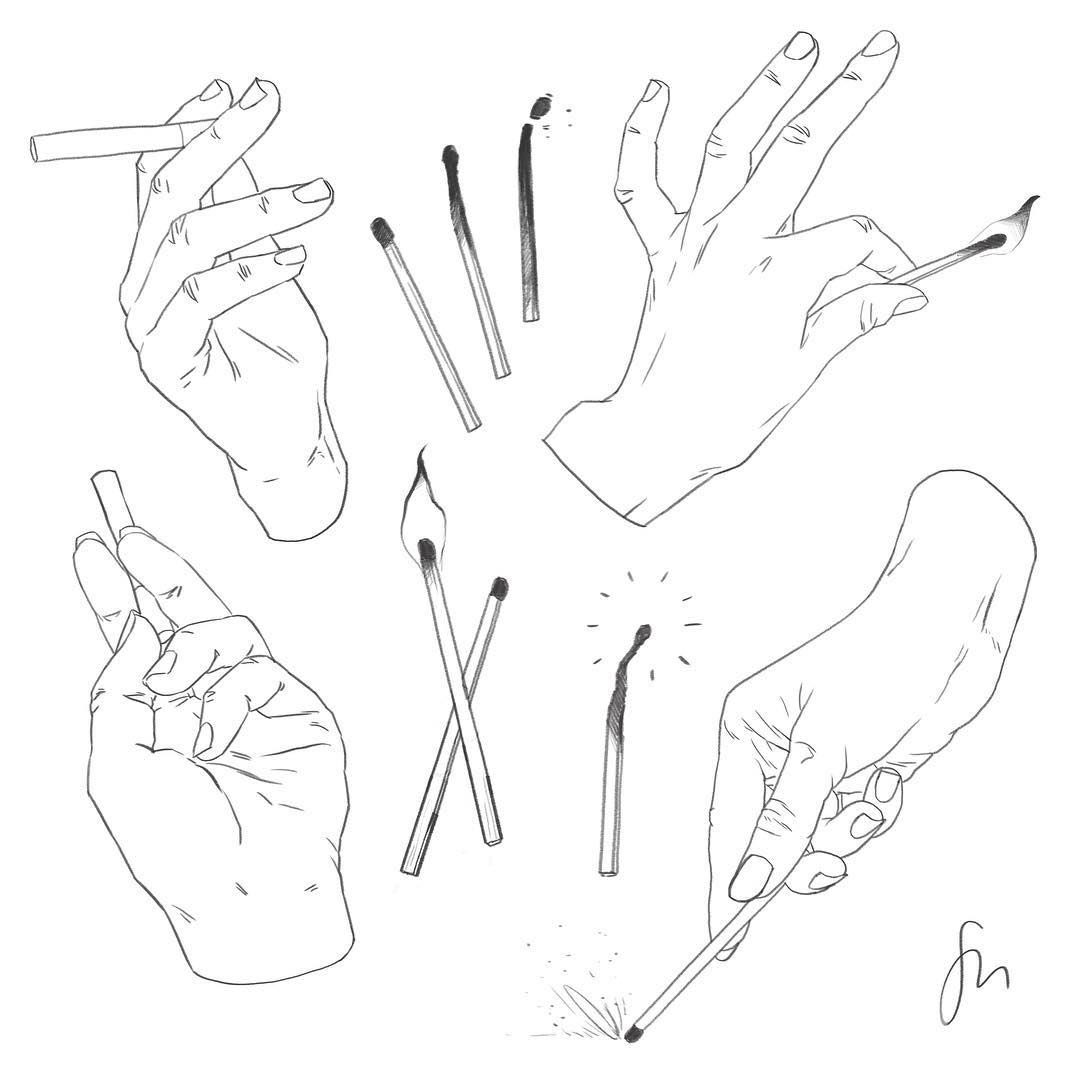 Hand with cigarette drawing reference