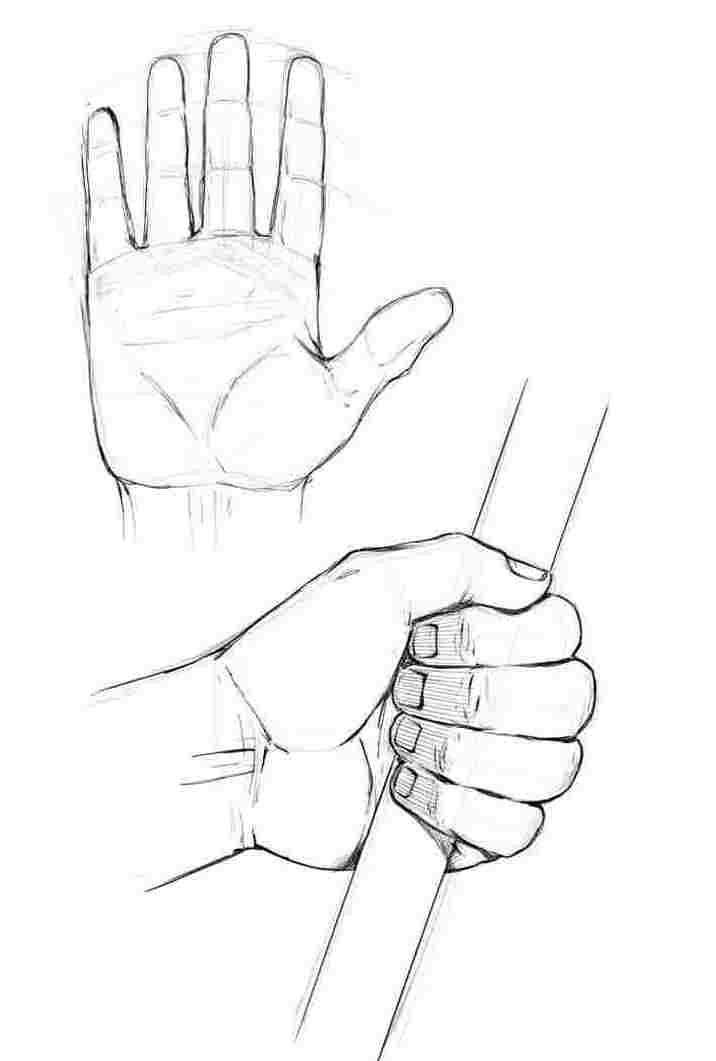Hand holding a stick drawing reference