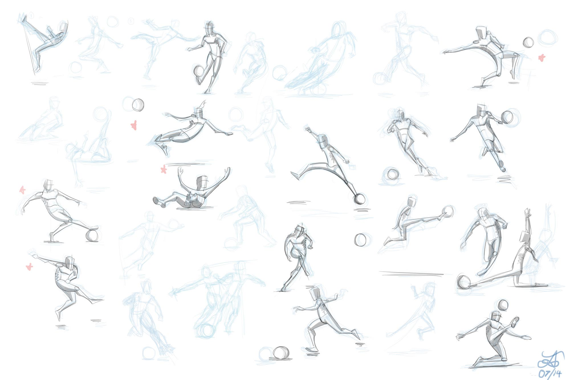 Football player drawing reference