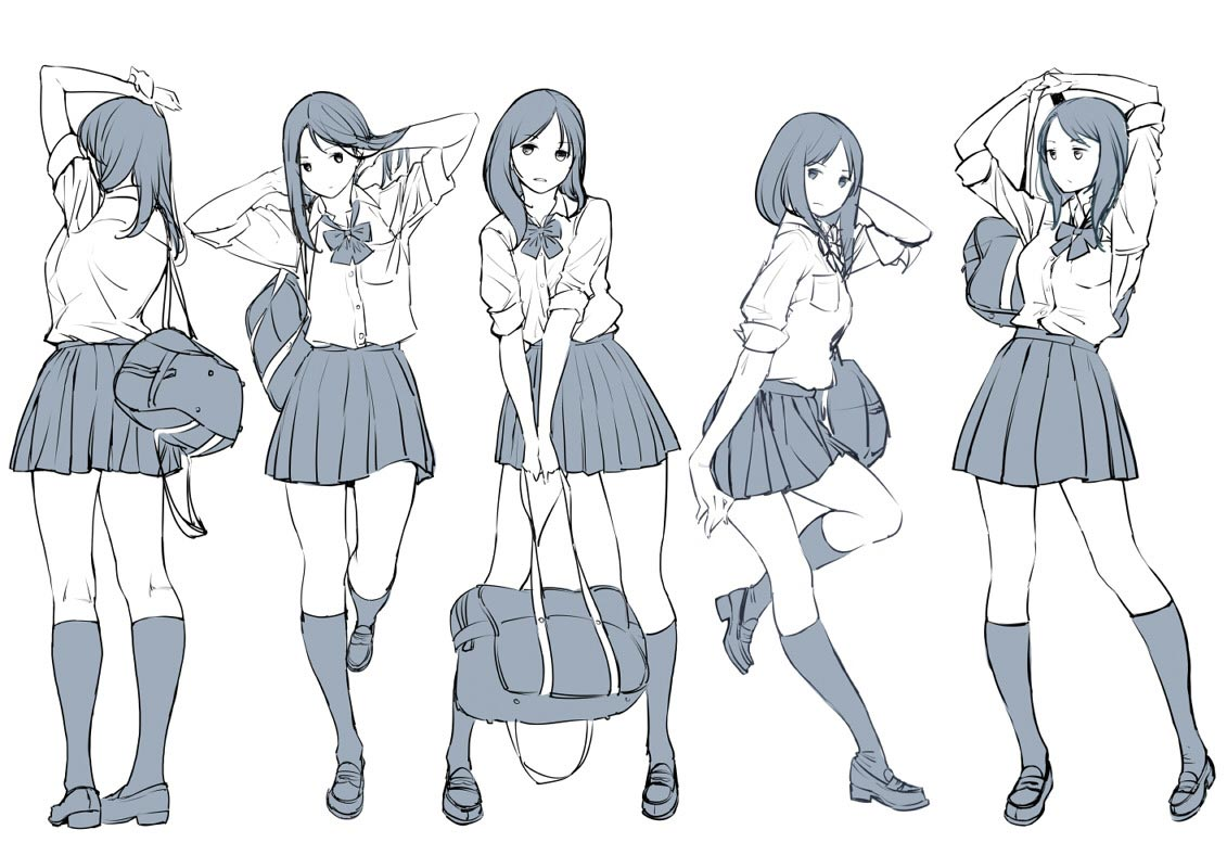 Anime Schoolgirl drawing reference
