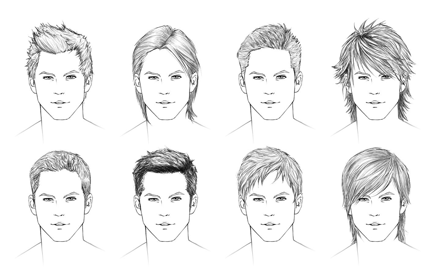 Male hair drawing reference
