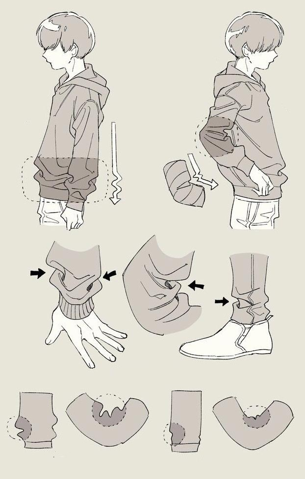 Clothing folds drawinf reference