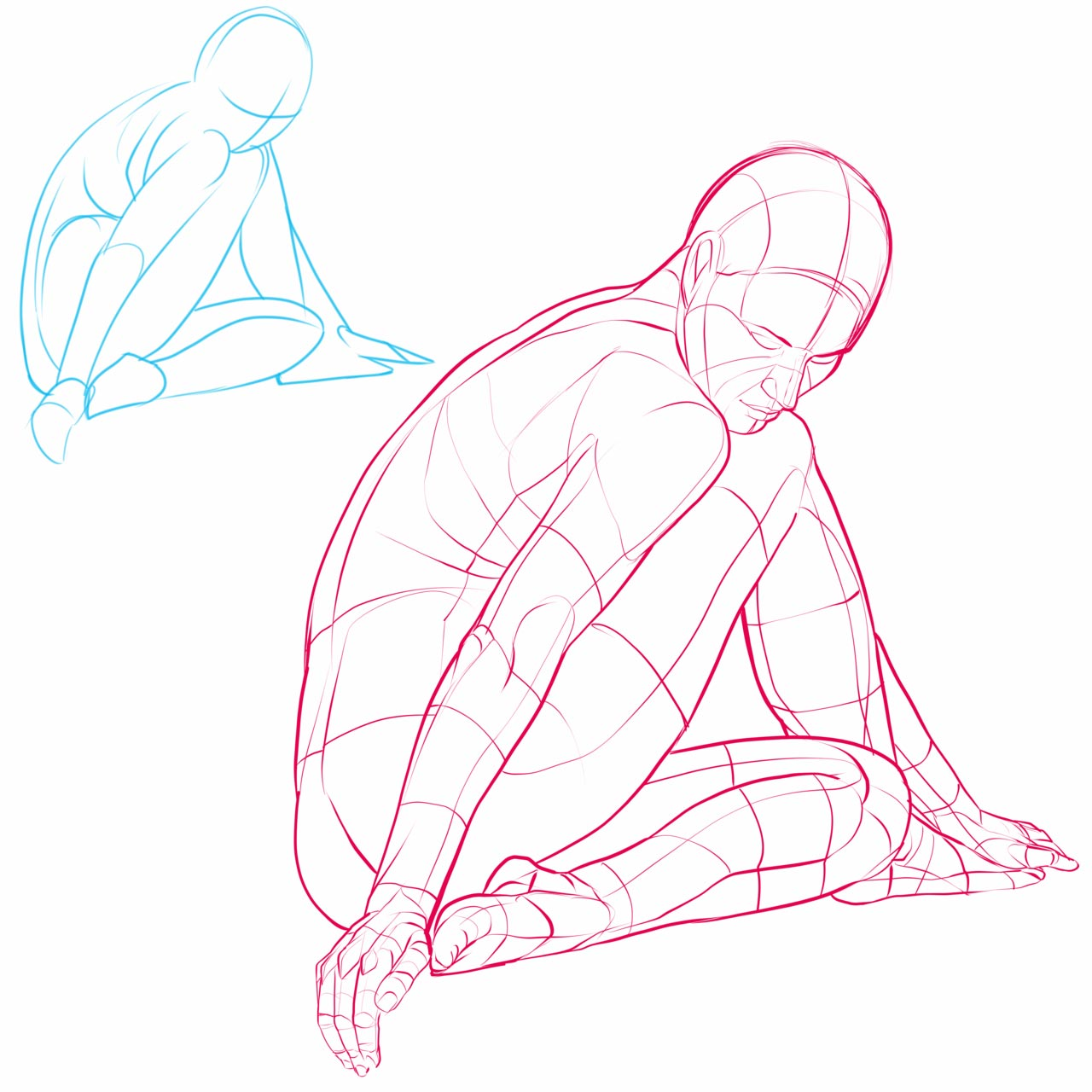 Kneeling drawing reference