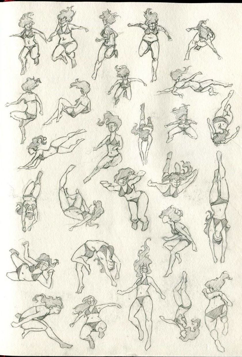 Swimming drawing reference
