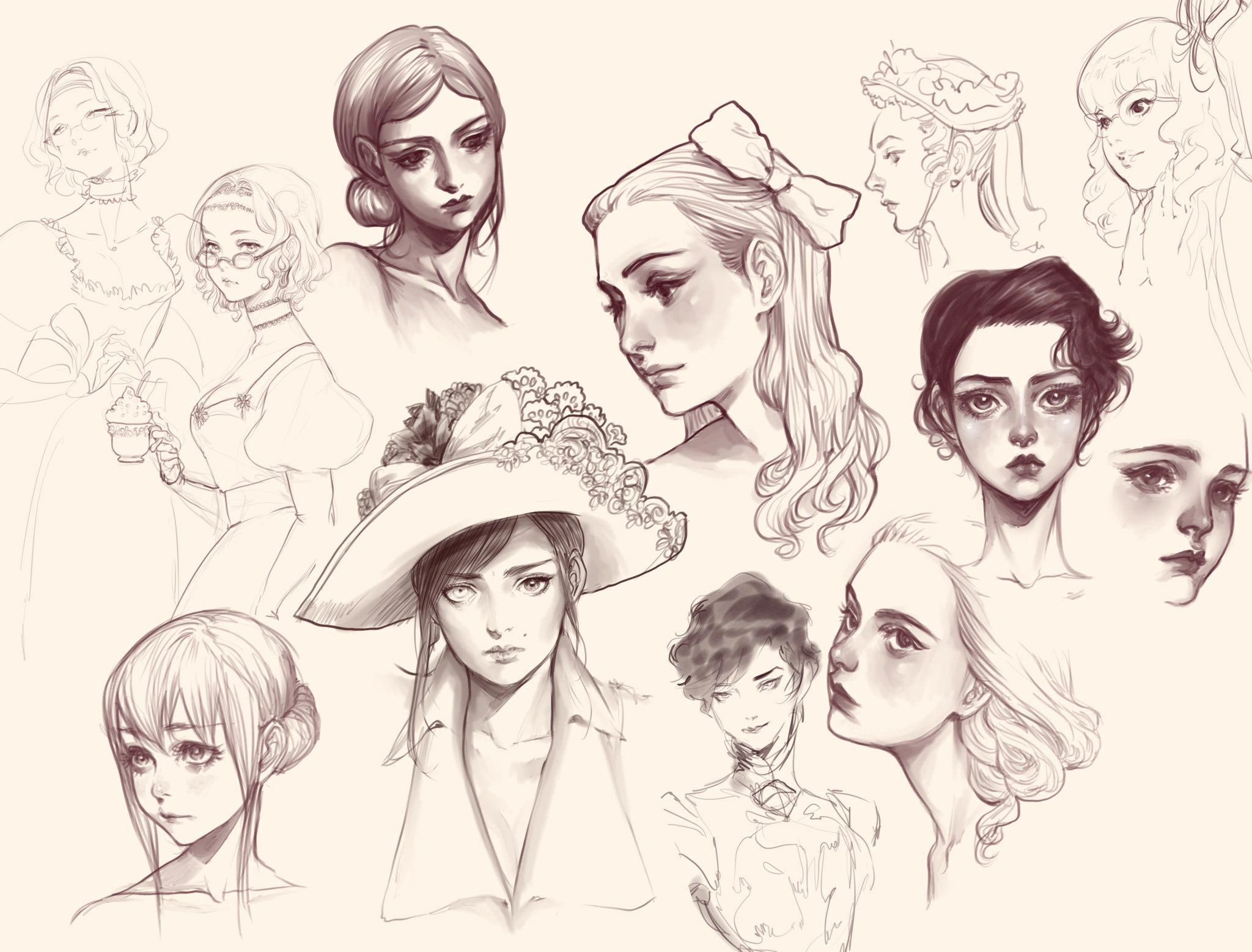 female face drawing reference