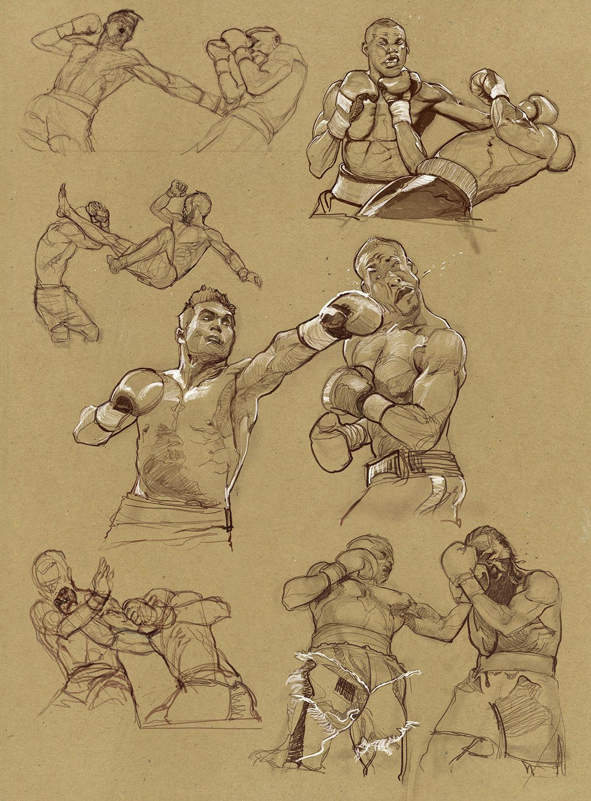 fighting drawing reference