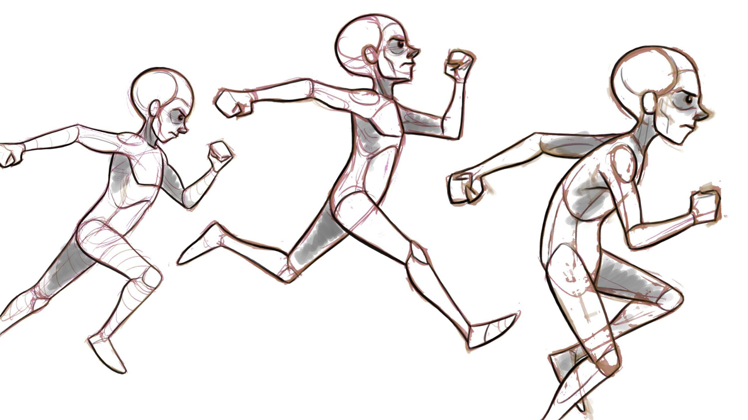 running drawing reference