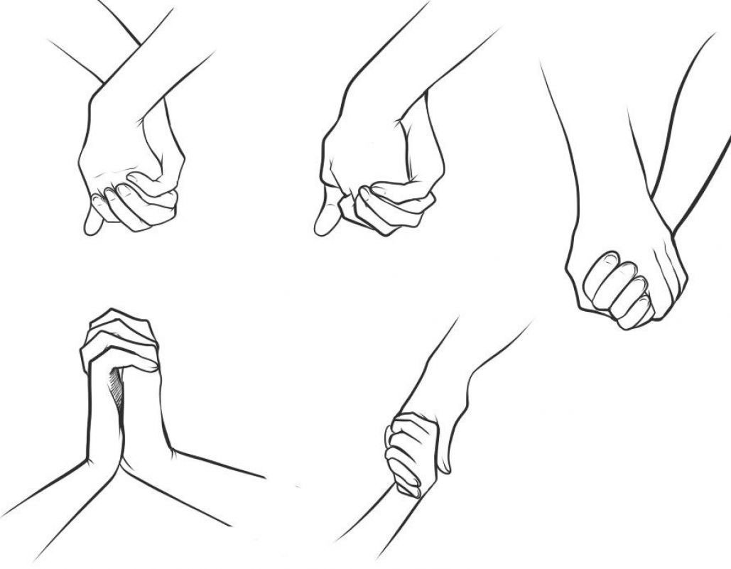 holding hands drawing reference