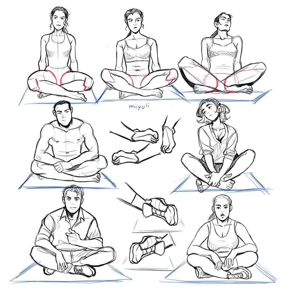 Sitting cross legged drawing reference
