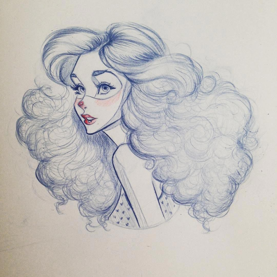 curly hair drawing reference