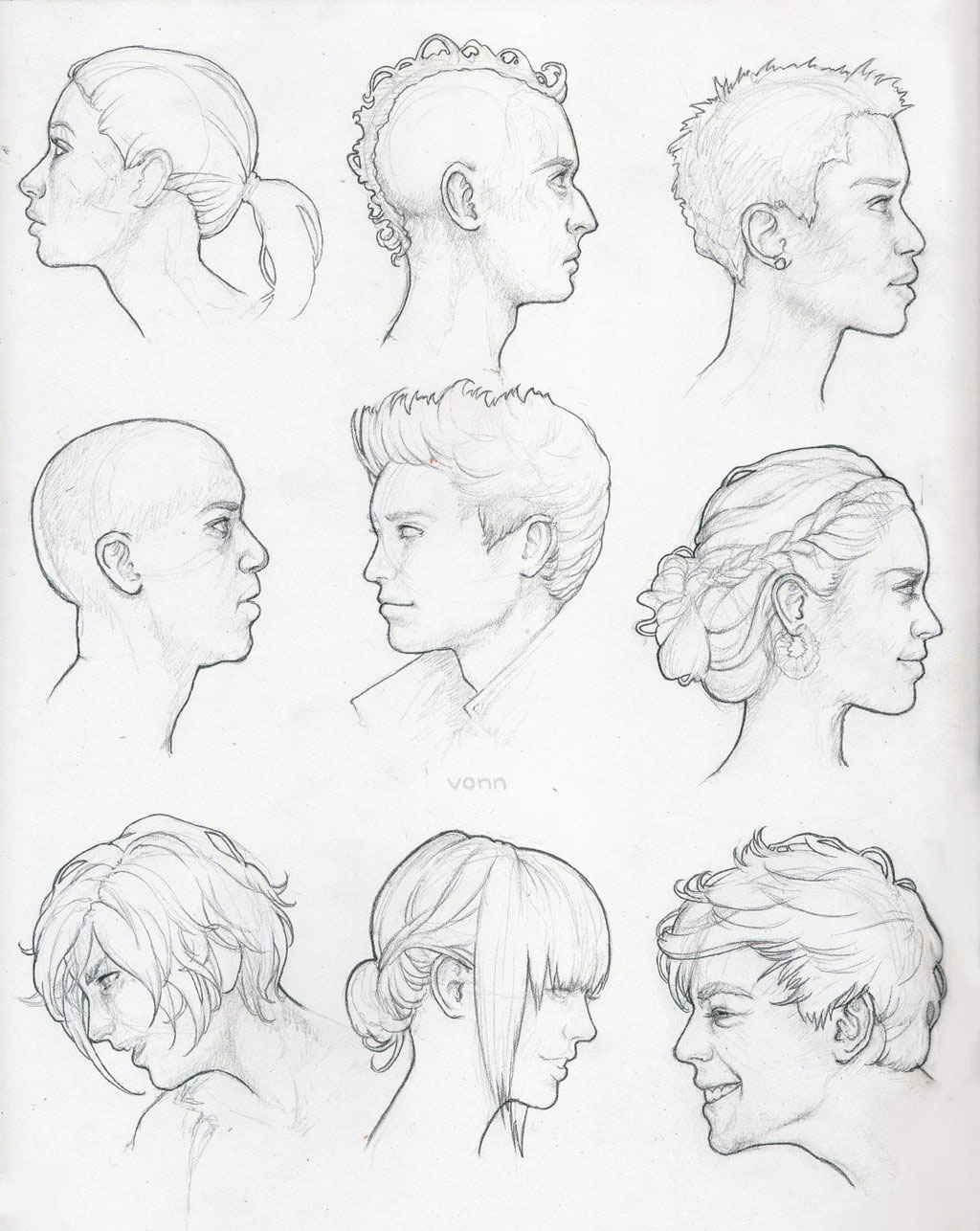 Male face side view drawing reference