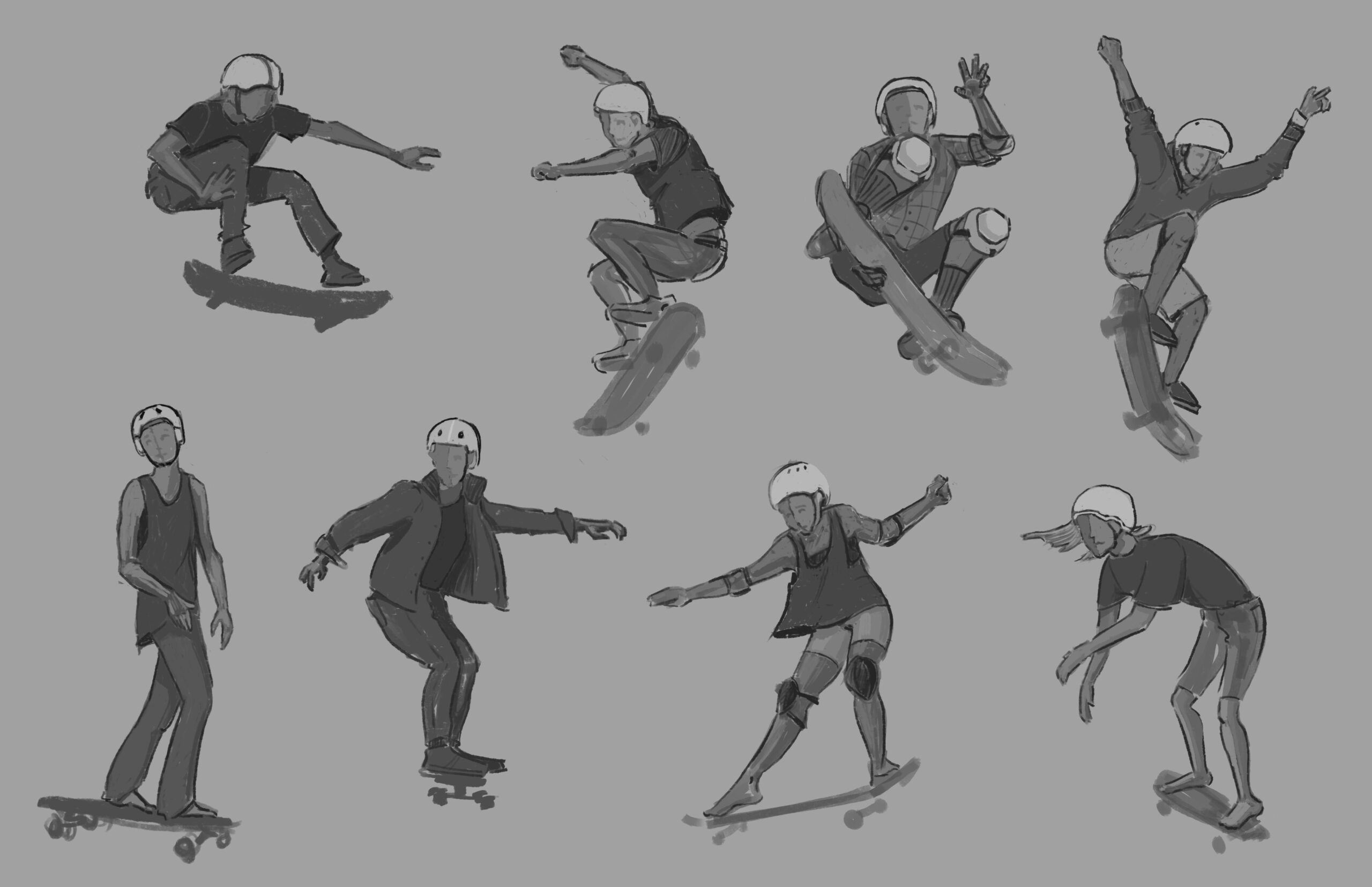 Skateboard poses drawing reference