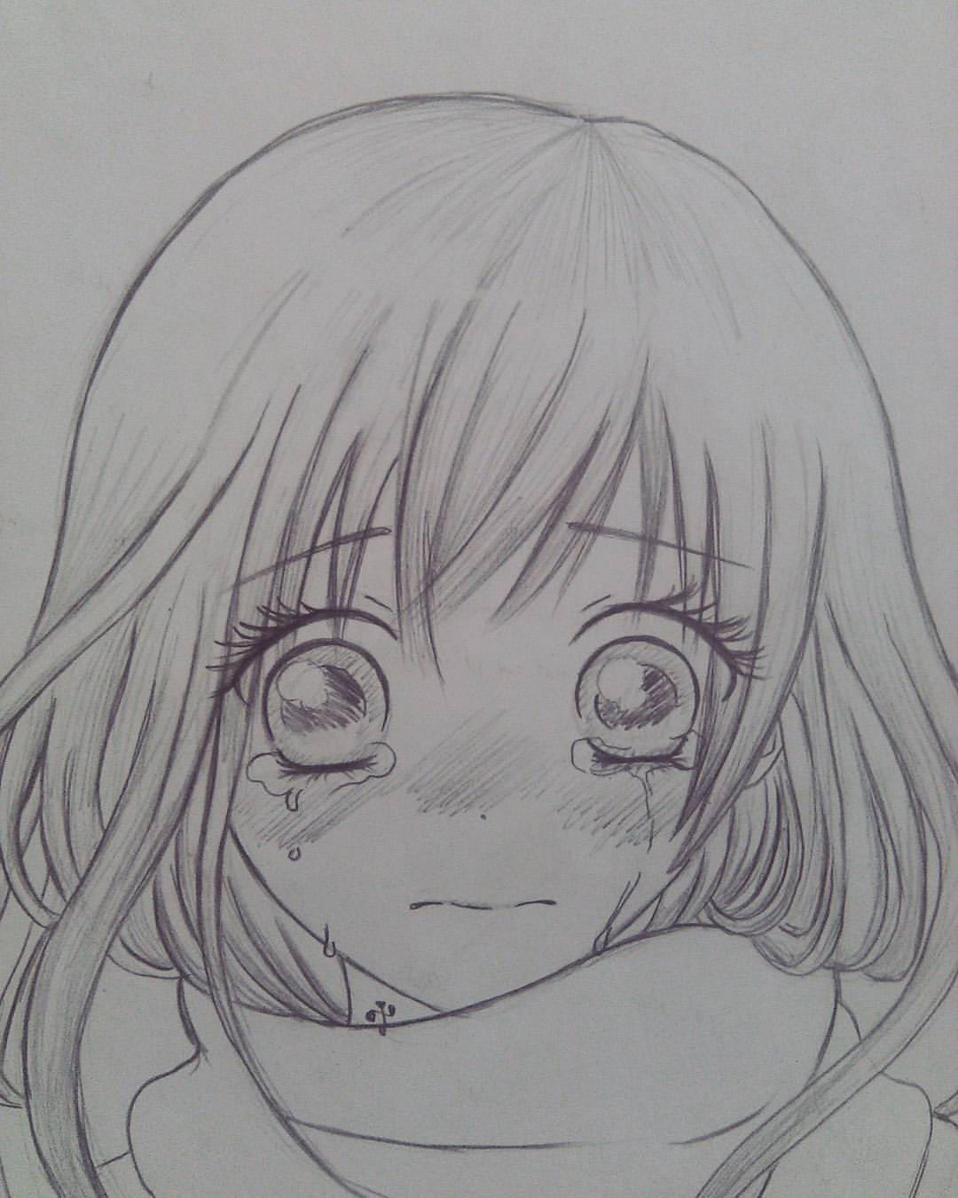 Anime Crying drawing reference